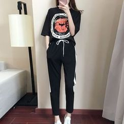 Elinor - 套裝: 印花中袖T恤 + 運動褲