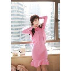MyFiona - Set: Flap-Pocket Cardigan + Sleeveless Knit Dress
