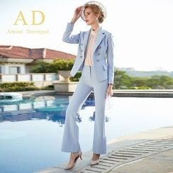 Aision - Double-Breasted Blazer / Boot-Cut Pants