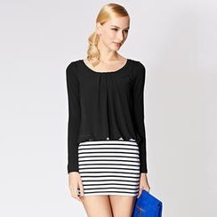 O.SA - Striped Panel Chiffon Minidress