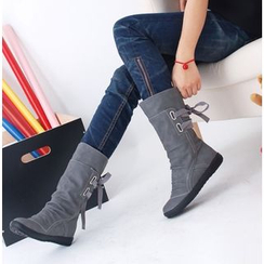 Shoes Galore - Tie Back Mid-Calf Boots