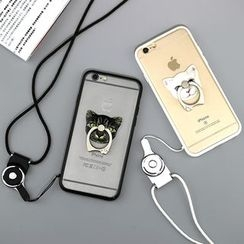 Cartoon Face - Cat Print Case with Mobile Ring + Neck Strap - Apple iPhone 5 / 6 / 6 Plus