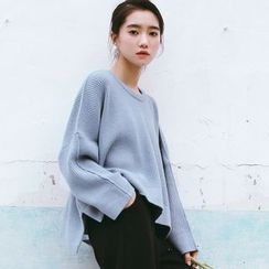 SUYISODA - Plain Slit Side Sweater