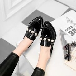JY Shoes - Faux Pearl Patent Loafers