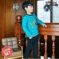 BILLY JEAN - Kids Set: Brushed Fleece Lined Lettering Sweatshirt + Harem Pants