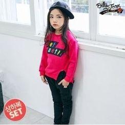 BILLY JEAN - Kids Set: Slit-Hem Lettering Sweatshirt + Brushed Fleece Lined Harem Pants