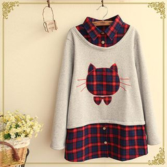 Fairyland - Mock Two-Piece Cat Plaid Shirt