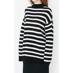 Someday, if - Mock-Neck Wool Blend Striped Knit Top