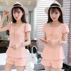 Strawberry Moon - Set: Short-Sleeve Lace Linen Top + Shorts