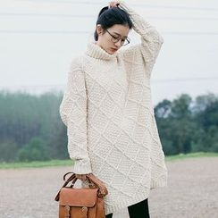 Forest Girl - Turtleneck Thick Knit Dress
