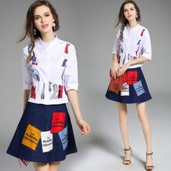 Y:Q - Set: Ruffled-Neckline Embroidered Blouse + A-Line Skirt