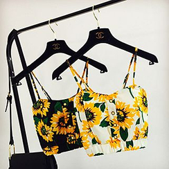 Apalili - Flower Print Cropped Camisole Top