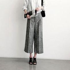 NANING9 - Cropped Wide Leg Linen Blend Pants