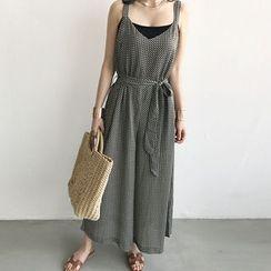 NANING9 - Sleeveless Pattern Wide-Leg Jumpsuit with Sash