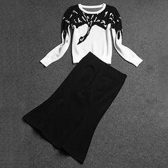 Amella - Set: Printed Knit Top + Ruffled Long Skirt