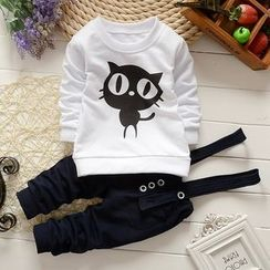NIFTY - Kids Set : Cat Sweatshirt + Suspender Pants
