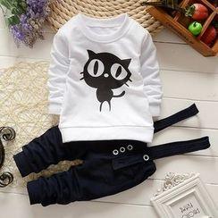 NIFTY - 小童套裝: 貓運動衫 + 背帶褲