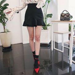 DABAGIRL - Ruffle-Hem A-Line Mini Skirt