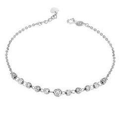 MaBelle - 14K/585 White Gold Diamond Cut Balls Bracelet