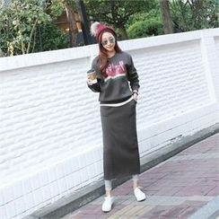 PIPPIN - Set: Layered-Hem Printed Sweatshirt + Long Skirt