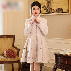 GU ZHI - 蕾絲邊刺繡大衣