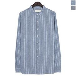 Seoul Homme - Mandarin-Collar Stripe Shirt