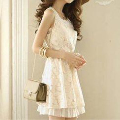 Rocho - Sleeveless Lace Panel Dress