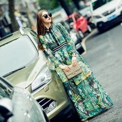 Neeya - Printed Long Sleeve Chiffon Maxi Dress