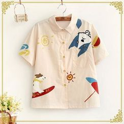 Fairyland - Dog Print Short Sleeve Shirt