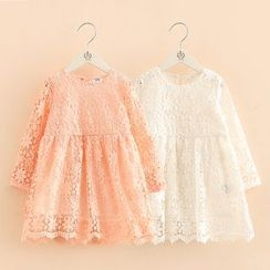 Seashells Kids - Kids Long Sleeve Crochet Lace Dress