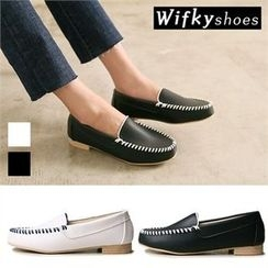 Wifky - Contrast Stitched-Trim Loafers