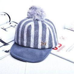 Buttercap - Kids Pompom-Accent Striped Baseball Cap