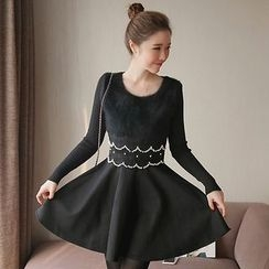 NEUF - Long-Sleeve Knit A-line Dress