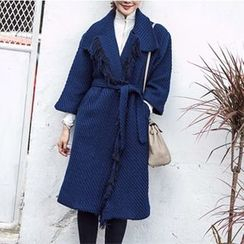 Shelby - Fringed Tie-Waist Knit Coat