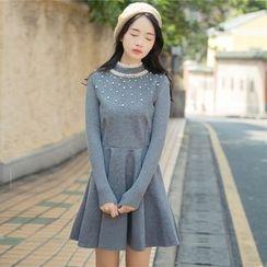 Ashlee - Long-Sleeve Knit Panel A-Line Dress