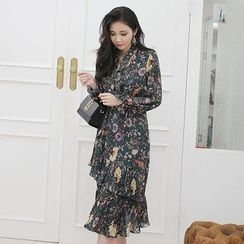 Seoul Fashion - Ruffle-Hem Floral Print Long Chiffon Dress