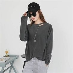 CHICFOX - Round-Neck Distressed Top