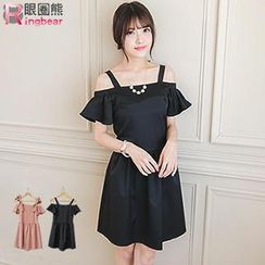 RingBear - Off-shoulder Frill Sleeve Dress