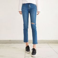Seoul Fashion - Distressed Semi Boot-Cut Jeans