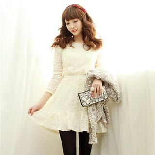 Dodostyle - Lace Band-Waist A-Line Dress