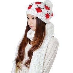 Hugababy - 套装: 针织围巾 + 毛毛球无边帽