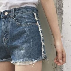 Anlay - Loose-Fit Distressed Denim Shorts
