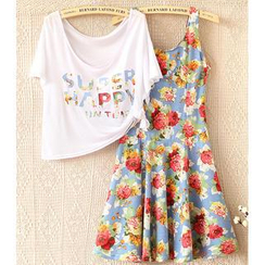JVL - Set: Lettering Cropped Top + Floral Tank Dress