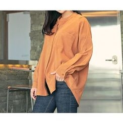 HOTPING - Open-Placket Pocket-Detail Shirt
