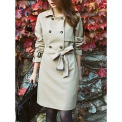 LOLOten - Double-Breasted Trench Coatdress with Belt
