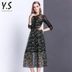 Y:Q - Mesh Panel Floral Print Midi A-Line Dress
