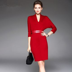 la nuit - Long-Sleeve V-neck Sheath Dress