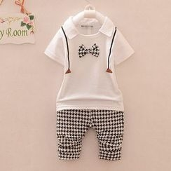 POMME - Kids Set: Bow Accent Collared Short Sleeve Top + Houndstooth Pants