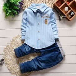 POMME - Kids Set: Letter Applique Striped Shirt + Band Waist Jeans