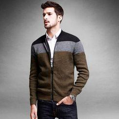 Quincy King - Colour Block Zip Knit Jacket
